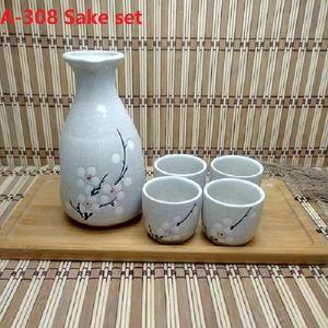 A-308 Sake Set Porcelain Shochu Camp Kitchen Pot Wine Bottle 2 Cups Ceramic
