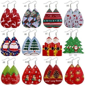 New Christmas Ornaments Festive Party Favor Christmas Earrings Christmas Snowman Deer Print Leather Earrings Holiday Gift