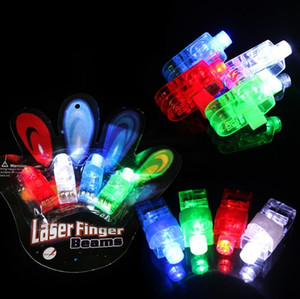 4pcs set Finger Light Shiny Neon Stick Laser Finger Beams Colorful LED Ring Luminous Toy Glow Dance Toy Shinning Ring Party Supply