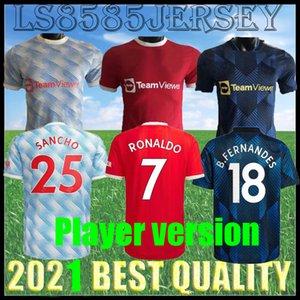 Oyuncu Sürümü Ronaldo 21 22 Sancho Rashford Futbol Formaları 2021 2022 Manchester Cavani Shaw B. Fernandes United Greenwood Utd Futbol Gömlek Adam Üniforma S-XXL