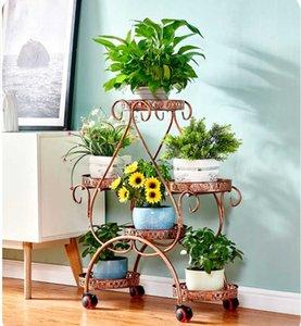 Flower shelf racks wrought iron multi-layer wheeled floor-standing green flower pot stand living room balcony heart-shaped flowe
