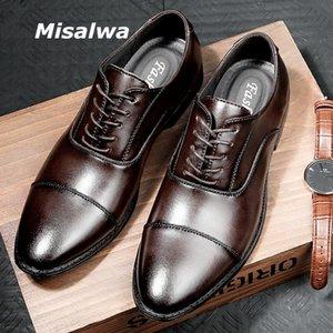 Misalwa Junção Tripla Vestido Oxford Sapatos Homens de Couro Genuíno Homens Terno Sapatos de Luxo Britânica Office Wedding Wing-Tip