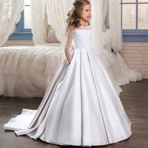 PLBBFZ FLOWN LONG BLANCO VESTIDO Vestidos para niños para niños Princess Vestido Fiesta de niña Prepare el vestido de novia 10 Vestidos de 12 años C0302