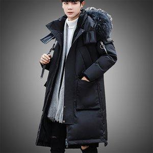 Winter Down Jacket Men Fur Collar Coat Outwear Long Outdoor Windproof With Big Pockets 2021