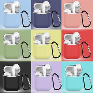 Pour Coque AirPods Coque Air Pod Coque Pouch Pochette Slim Silicone Couvercle avec crochet pour caisse de silicone Airpod