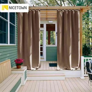NICETOWN Outdoor Waterproof Curtain Tab Top Thermal Insulated Blackout Curtain Drape for Patio Garden Front Porch Gazebo 210831