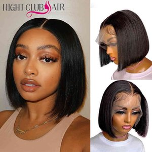 Short Bob Front 4x4 Lace Closure Wig Transparent Bone Straight 13*1 T Part Hu Hair Wigs For Women Pre Plucked Remy