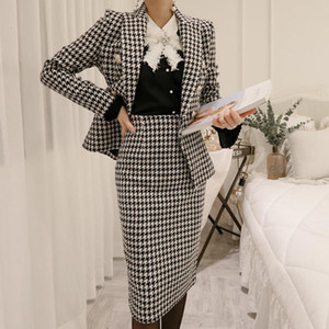 2021 New Womens Two Piece Sets Korean Woman Clothes Sets Plus Size Two Piece Lattice Tweed Tracksuit Women's Overalls Suits