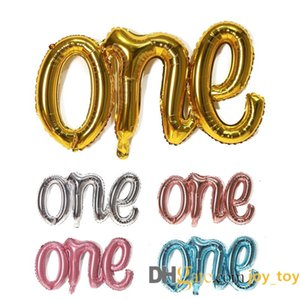 Mix colors 40 inch One Balloon Banner First Birthday Balloons Hand Writing Style Foil Letter Baby Balloon Anniversary Celebration Decora