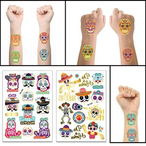 T06 Halloween Temporary Face Tattoos Day of the Dead Sugar Skull Puppy Black Skeleton Web Red Roses Tattoo for kids Boys Girls Mexican