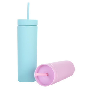 Acrylic Skinny Tumblers Matte Colors Double Wall Water Bottle Coffee Drinking Plastic Tumbler Sippy Cup With Free Straws OOB5019