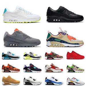 max 90 90s off white En Kaliteli Spor Erkek Tenis Koşu Ayakkabıları 2021 Trail Takım Gri Dünya Çapında Beyaz Bayan Klasik Yastık Eğitmenler Spor ayakkabılar 46 EUR