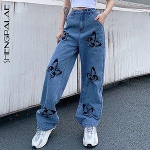 Shengpalae 2021 Nuova estate jeans vintage donna pantaloni lunghi cowboy femmina sciolto streetwear farfalla stampa pantaloni ZA4110