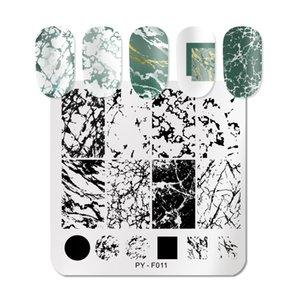 Pint You Linha listrada de mármore de natal National Ano Novo Nail Stamping Placas Flor Folhas Geométricas Placa De Aço Inoxidável Estêncil Ferramentas