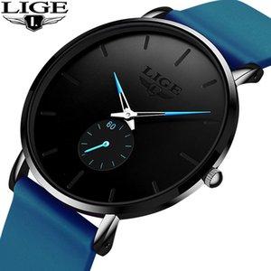 Wristwatches 2021 LIGE Luxury Men Watch Fashion Minimalist Blue Ultra-thin Silicone Strap Casual Waterproof Wristwatch Gift For