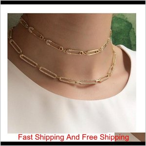 2019 Christmas Gift Unique Women Jewelry Gold Filled Micro Pave Cz Safety Pin Link Chain Choker Necklace 32+10Cm Sexy Layer 9Q8Kp Wqomi
