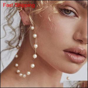 Fashion Women Faux Pearl Beaded Charm Big Hoop Earrings Sta qylfeu mj_fashion