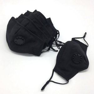 Fashion Black In Face Stock Masks With Breathing Valve Dust-proof Breathable Protective Mask Can Insert PM2.5 Filter Cotton Masks