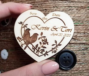 Fridge Magnets Wood Personalized Wedding Save The Date Rustic Birds Magnet Favor M