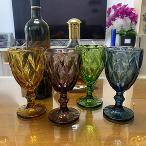 Multicolor Relief Wine Glasses 10oz Drinking Goblet Set of 4 Wedding Banquet Wine Glass Retro Diamond Champagne Beverage Cup
