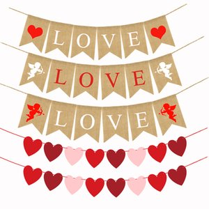 Sweet Heart Garland Happy Valentine's Day Cupid LOVE Banner Party Decoration for Home Wedding Party Flag Bunting Party Birthday