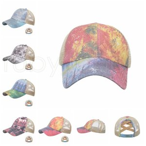 Tie Dye Ponytail Baseball Cap Criss Cross Washed Ball Caps Fashion Tie Dye High Messy Festive Party Hats Supplies RRA4184