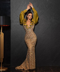 Aso Ebi 2021 Arabic Mermaid Sparkly Sexy Evening Dresses Beaded Crystals Prom Dresses Sheer Neck Formal Party Second Reception Gowns