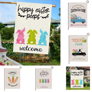 Welcome Happy Easter Peeps Garden Flag Double Sided Easter Bunny Vertical Burlap House Flags Spring Yard Outdoor Decoration Plaid HH21-115