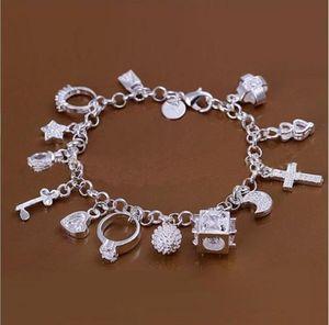 DMSB144, bracelet en plaqué argent sterling de Hotwomen, bijoux de bracelet à plaques d'argent 925, 6pcs / lot
