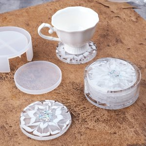 Diy Epoxy Resin Silicone Molds Circular White Crystal Drop Glue Storage Box Round Coaster Craft Tools Mold New Arrival GWD4967