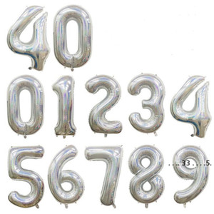 Party Decoration Balloon 40 Inch Laser gold Silver Color Number Foil Balloons,Birthday Party Decoration Balloon with package bag EWF5536