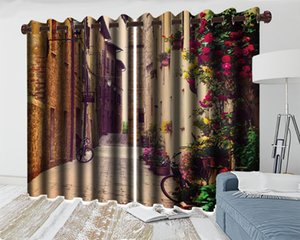 3d Curtain Window European Style Brick Wall Flower House 3d Landscape Curtain Living Room Bedroom Kitchen Digital Print 3d Curtain