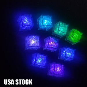 Novelty Stage Lighting RGB LED flashing ice cube lights Water Submersible Liquid Sensor Night Light for Club Wedding Party Champagne Tower Christmas festive