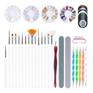 Набор ногтей маникюр набор ногтей стразы щипцов буферов буферные блоки файлов пыли щетка точевая ручка инструменты дизайн