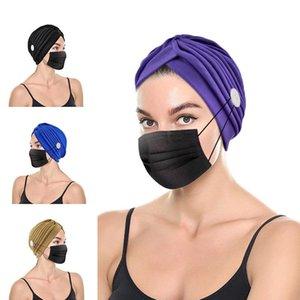 Turbante quimio cáncer ca p con botón pre-atado nudo plisado headwrap beanie suave sombrero sombrero en la cabeza ilimitado slouchy snood-ca p