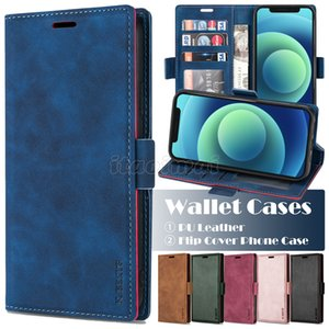 Wallet Phone Case for iPhone 12 Mini 11 Pro X XR XS Max 7 8 Plus Samsung Galaxy S20 Ultra Skin Feeling Pu Leather Flip Stand Cover Case
