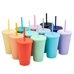 16OZ Double Layer Plastic Straw Cups Fashion for Adults Kids Straight Coffee Cup Candy Colors Plastic Frosted Water Cup With Straw H32SZ9X