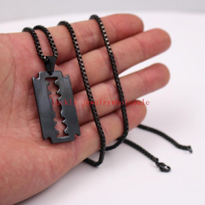 Plated Black Men's Punk Hip-Hop Stainless Steel Razor Blade Dog Tag Necklace Pendant with 24'' Box Chain Barber Jewelry