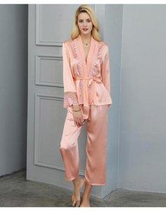 100% real seda 2 piezas pijamas de lujo pijamas mujeres sexy encaje kimono bata pantalones mulberry seda homewear ropa de dormir pijama mujer