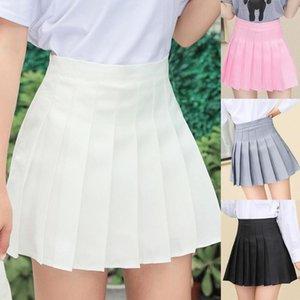 Etekler Kadın Kızlar Yüksek Belirli Pileli Skater A-Line Mini Etek Astar Şort Ile Katı Renk Okul Üniforma Streetwear