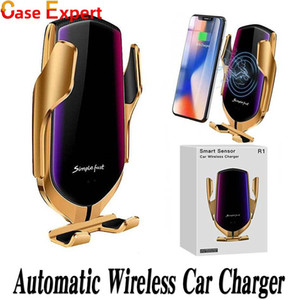 R1 Infrared Sensor Wireless Car Charger Automatic Clamping For iPhone 12 Pro Max Qi Enable Device Air Vent Phone Holder 10W Fast Charging