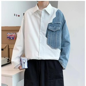 New Style Men's Shirts Fashion Spliced Jeans Cotton White Blue Oversized Shacket Hip Hop Streetwear Loose Overshirt Big Size Top