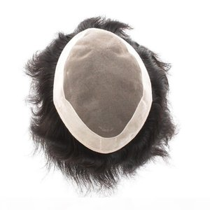 Fastion Men's wigs 7x9inch mono lace Men's toupee 100% human hair replacement Indian hair toupee Wig#1B Color no shedding no tangl