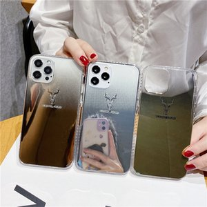 mirror Deer Phone Case for iPhone 12 11 mini Pro MAX XS XR 7 8 plus SE 2 TPU texture back cover shell