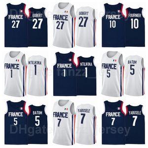 France Basketball 10 Evan Fournier Jersey 2021 Summer Tokyo Olympics 17 Vincent Poirier Timothe Luwawu-Cabarrot Thomas Heurtel Rudy Gobert
