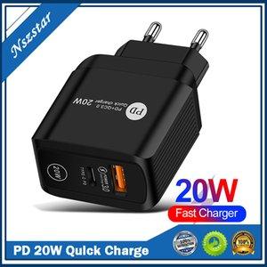 20W PD+QC3.0 USB Fast Charging EU US UK Ac Home travel PD QC3.0 Wall charger adapterWall Power Adapter EU UK US Plug for iPhone Xiaomi Sam