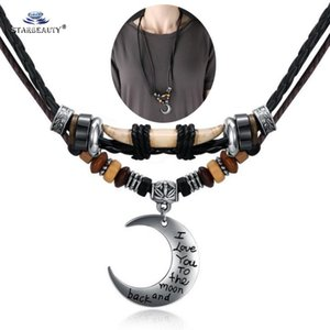 Wolf Tooth I Love Moon Black Leather Necklace Men Long Necklace Women Double Layer Pendants Necklaces Rope Neckless Men Jewelry