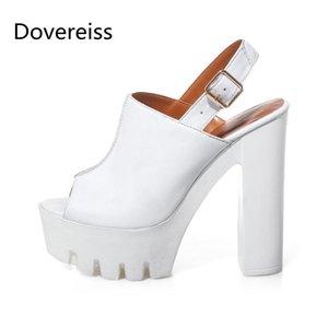 Dovereiss Fashion Femme's Chaussures Été Nouvelle couleur pure Sexy Consice Chunky talons imperméable Chaussures Sandales