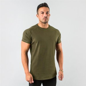New Stylish Plain Tops Fitness Mens T Shirt Short Sleeve Muscle Joggers Bodybuilding Tshirt Male Gym Clothes Slim Fit Tee Shirt