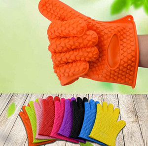 Silicone BBQ Gloves Anti Slip Heat Resistant Microwave Oven Pot Baking Cooking Five Fingers Gloves Heat Resistant Oven Gloves LJJK2518